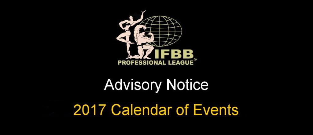 تقویم مسابقات 2017 IFBB